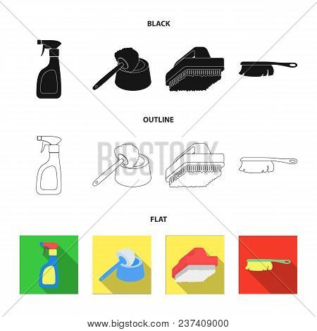 Cleaning And Maid Black, Flat, Outline Icons In Set Collection For Design. Equipment For Cleaning Ve