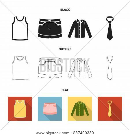 Shirt With Long Sleeves, Shorts, T-shirt, Tie.clothing Set Collection Icons In Black, Flat, Outline