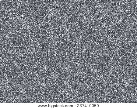 Silver Glitter Background Texture. Vector Grey Glittery Festive Background For Luxury Gift Card Or H
