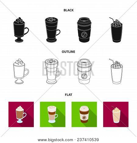 Mocha, Macchiato, Frappe, Take Coffee.different Types Of Coffee Set Collection Icons In Black, Flat,