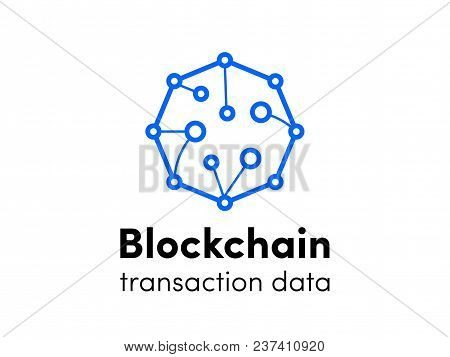 Blockchain Logo. Cloud Cryptocurrency Service Logo For Bitcoin Or Etherium Innovation Technology. Ve