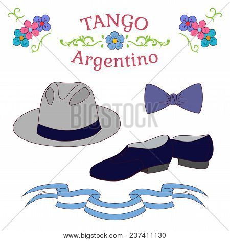 Hand Drawn Vector Illustration With Argentine Tango Design Elements - Men Dancing Shoes, Hat, Bow Ti
