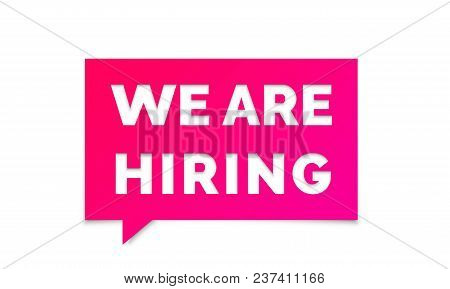 We Are Hiring Job Employee Vacancy Announcement Banner . Vector We Are Hiring Pink Message Chat Post
