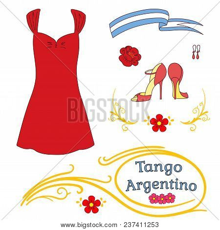Hand Drawn Vector Illustration Argentine Tango Design Elements - Women Dancing Shoes And Clothes, Ea