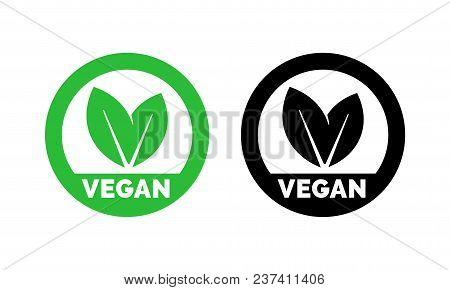 Vegan Label Template For Vegetarian Food. Green Leaf Icons Set For Vegetarian Or Vegan Healthy Nutri