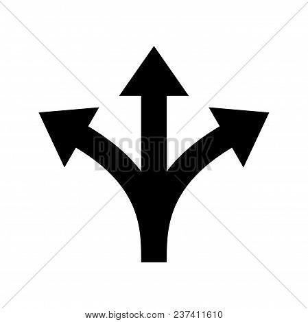 Three Way Direction Arrow Sign. Vector Icon For Road Marking Of Y Three-way Or Triple Multiple Pathw
