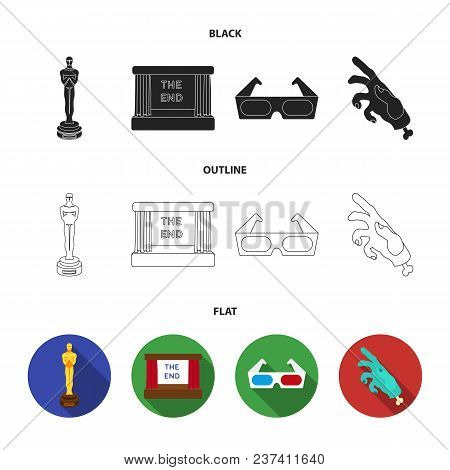 Award Oscar, Movie Screen, 3d Glasses. Films And Film Set Collection Icons In Black, Flat, Outline S