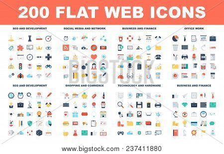 200 Flat Web Icons - Seo And Development, Social Media And Network, Business And Finance, Office Wor