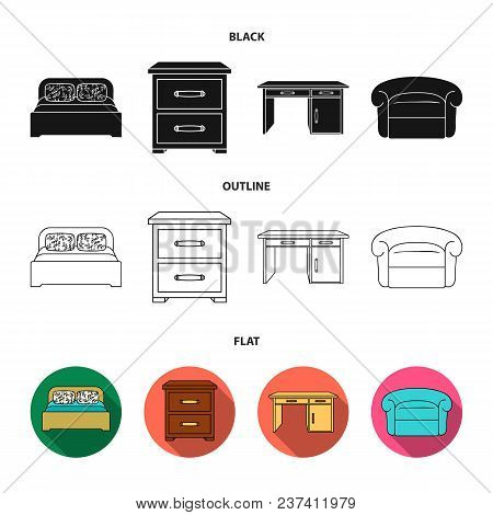 Interior, Design, Bed, Bedroom .furniture And Home Interiorset Collection Icons In Black, Flat, Outl