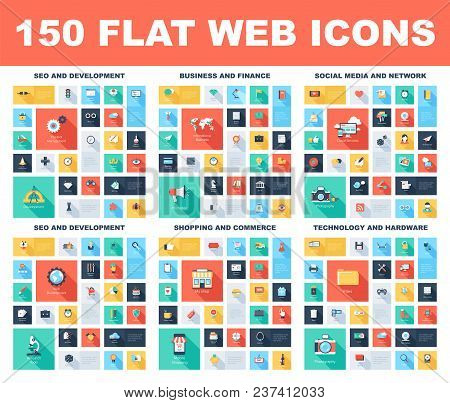 150 Flat Web Icons - Seo And Development, Social Media And Network, Business And Finance, Shopping A