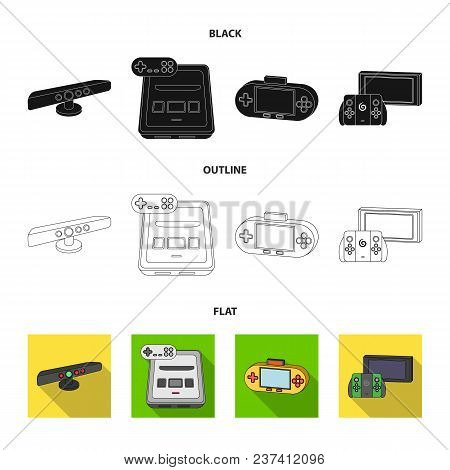 Game And Tv Set-top Box Black, Flat, Outline Icons In Set Collection For Design.game Gadgets Vector