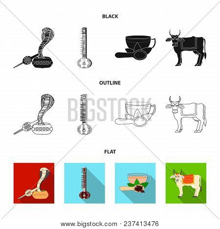 Country India Black, Flat, Outline Icons In Set Collection For Design.india And Landmark Vector Symb