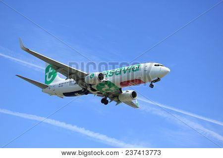 Amsterdam The Netherlands - April, 19th 2018: Ph-hsa Transavia Boeing 737-800 On Final Approach To S