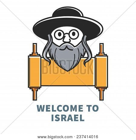 Welcome To Israel Commercial Banner With Jewish Man And Old Ingot. Elderly Hasidim With Curls In Tra