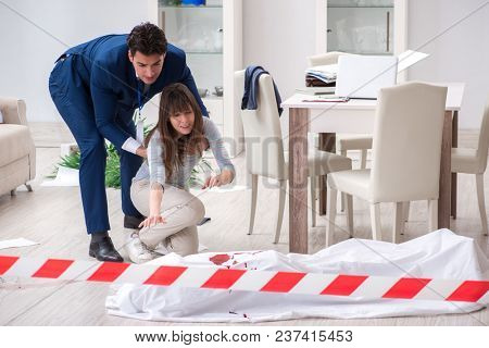 Victim wife at the scene on murder