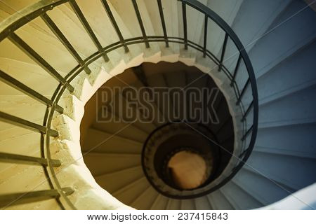 View To The Circle Spiral Staircase In Old Building