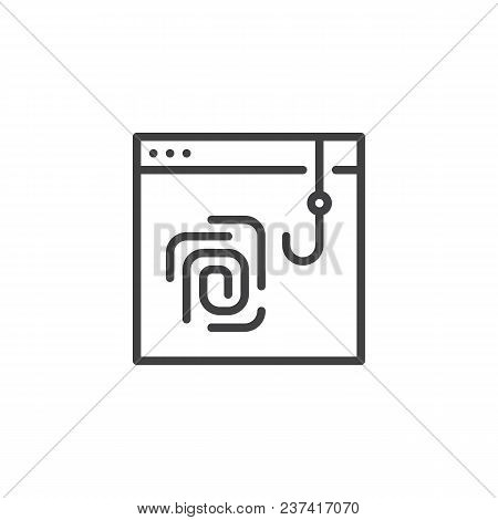 Fingerprint Scan Phishing Outline Icon. Linear Style Sign For Mobile Concept And Web Design. Hacked