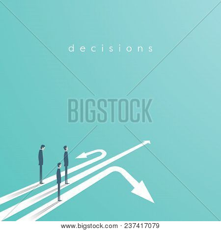 Business Concept Of Decision And Competition. Businessman Standing On Different Arrows - Symbol Of D