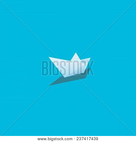 Paper Boat Vector Illustration On Bright Cyan Background. Symbol Of Creativity, Journey, Voyage, Adv