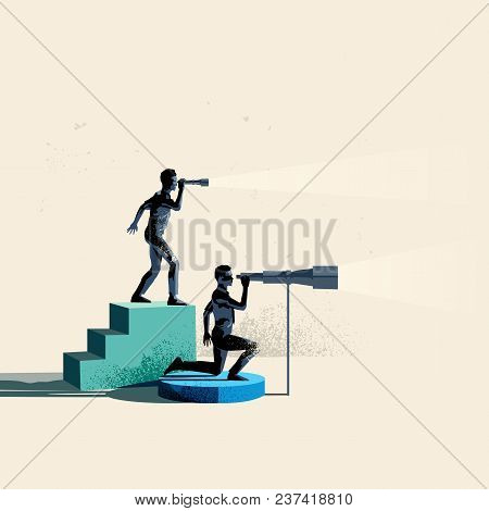 Seeking Business Opportunities. Two People Searching The Horizon With Telescopes. Conceptual Vector