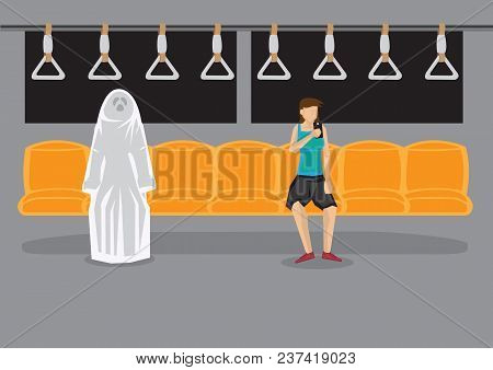 Cartoon Woman Sitting Alone In Metro Using Hand Phone And Unaware Of A Ghost Beside Her. Creative Ve