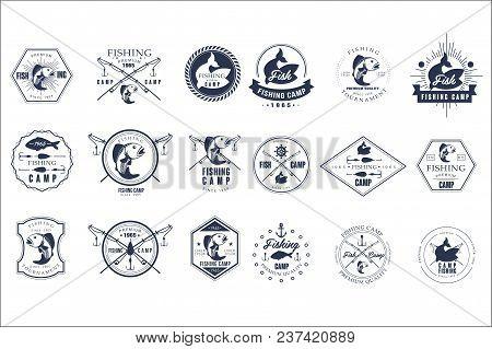 Collection Of Vintage Fishing Camp Logo Or Tournament Emblem Templates. Original Monochrome Labels W