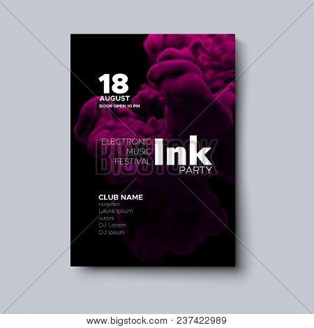 Electronic Music Festival Poster Design. Ink Party Flyer. Fluid Color Splash Cover. Vector Illustrat