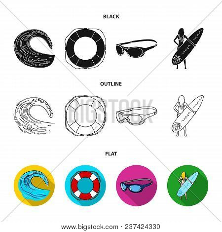 Oncoming Wave, Life Ring, Goggles, Girl Surfing. Surfing Set Collection Icons In Black, Flat, Outlin