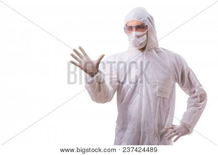 Man in protective suit isolated on white background