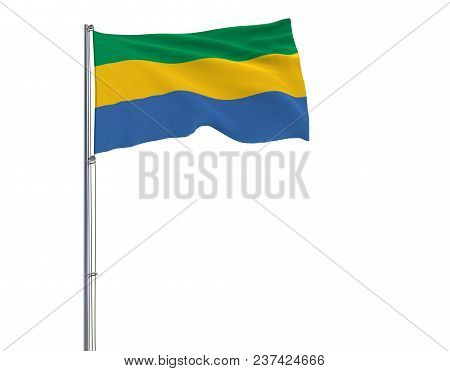 Isolate Flag Of Gabon On A Flagpole Fluttering In The Wind On A White Background, 3d Rendering