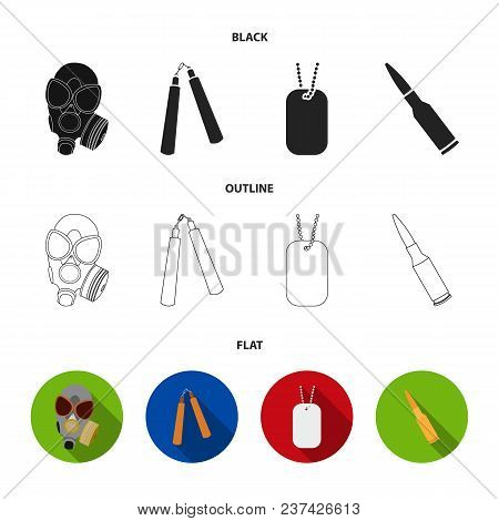 Gas Mask, Nunchak, Ammunition, Soldier Token. Weapons Set Collection Icons In Black, Flat, Outline S