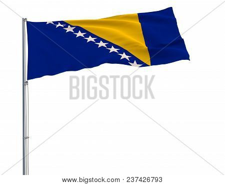 Isolate Flag Of Bosnia And Herzegovina On A Flagpole Fluttering In The Wind On A White Background, 3