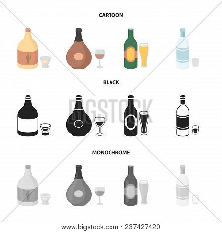 Tequila, Cognac, Beer, Vodka.alcohol Set Collection Icons In Cartoon, Black, Monochrome Style Vector