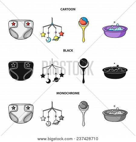 Children Diapers, A Toy Over The Crib, A Rattle, A Children Bath.baby Born Set Collection Icons In C