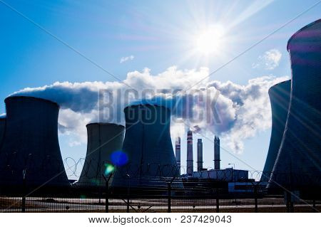 Power Plant Pocerady In Czech Republic In The Sunny Day