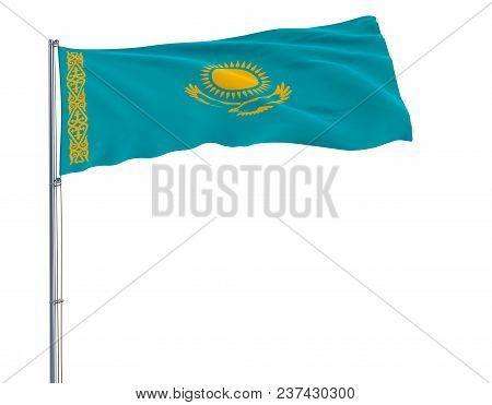 Isolate Flag Of Kazakhstan On A Flagpole Fluttering In The Wind On A White Background, 3d Rendering