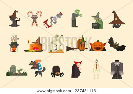 Set Of Halloween Elements And Funny Characters. Creepy Hand Sticking Out From Grave, Zombie, Witch O