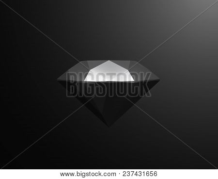 Black Diamond Shape On Black Background. Vector 3d Illustration. Gemstone Element. Morern Polygonal