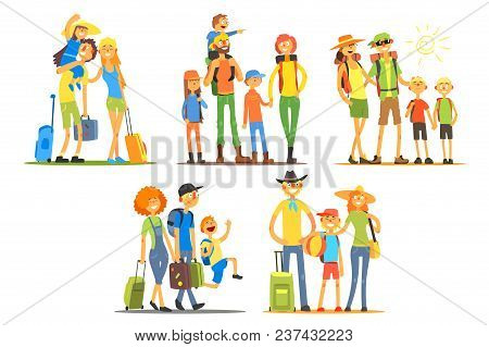 Five Young Families Going On Vacation. Travelers With Backpacks And Luggage. Cartoon Tourists Charac