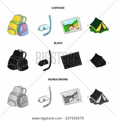 Travel, Vacation, Backpack, Luggage .family Holiday Set Collection Icons In Cartoon, Black, Monochro