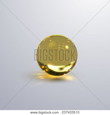 Glossy Transparent Sphere. Vector Realistic Illustration Of Yellow Oil Substance With Caustic Effect