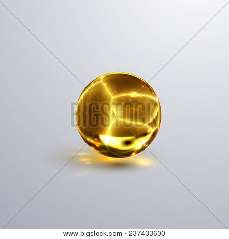 Glossy Cracked Crystal Sphere. Vector Illustration. Glossy Transparent Fractured Amber Ball With Cau