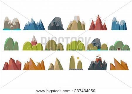 Nature Mountains Set, Variety Of Mountain Massif Vector Illustrations Isolated On A White Background