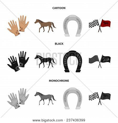 Race, Track, Horse, Animal .hippodrome And Horse Set Collection Icons In Cartoon, Black, Monochrome