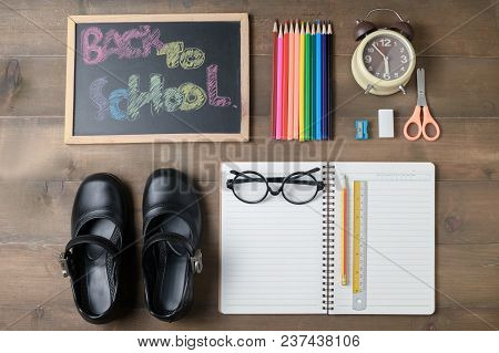 Blank Notebook And School Supplies On Topview