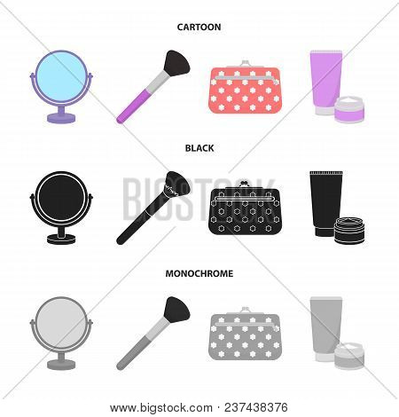 Table Mirror, Cosmetic Bag, Face Brush, Body Cream.makeup Set Collection Icons In Cartoon, Black, Mo