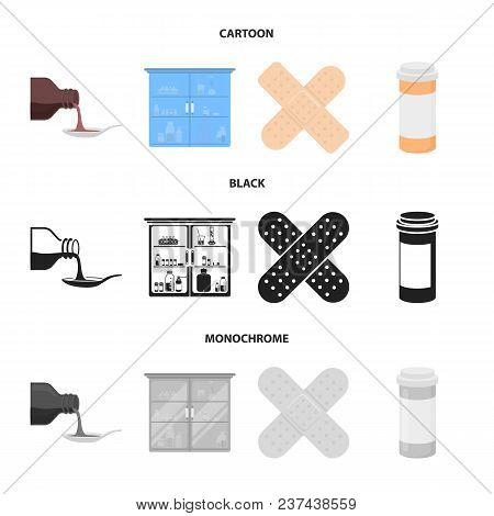 Syrup In A Spoon, Plaster, Honey, Medical Cabinet.medicine Set Collection Icons In Cartoon, Black, M
