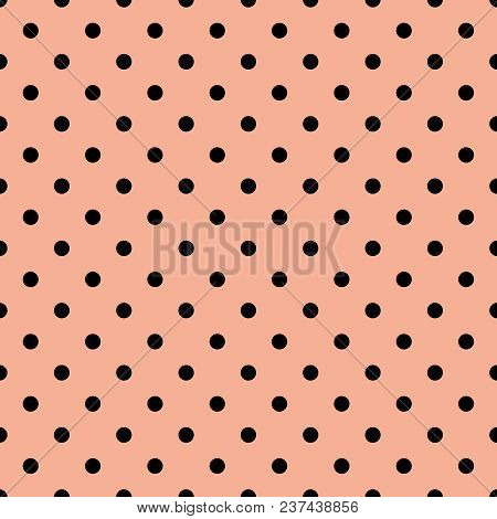 Tile Vector Pattern With Black Polka Dots On Brown Background