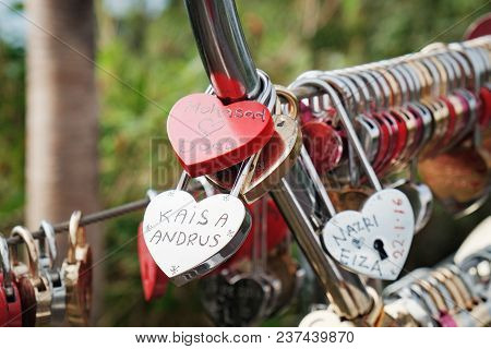 Langkawi, Malaysia - February 16, 2016: Love Padlocks At Langkawi Skycab, Cable Car. Locks Of Love I