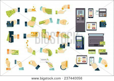 Finance And Banking Icons Big Set, Money In Hand, Cash And Bank Payments Vector Illustrations Isolat